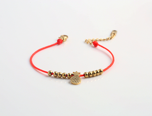 Pineapple red rope bracelet