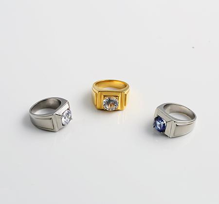 Stainless steel diamond ring