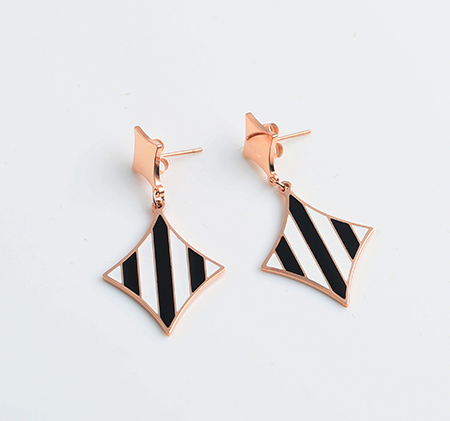 Fashion black and white striped earrings