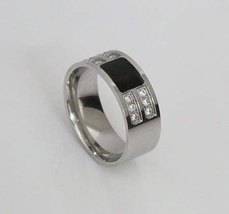 Ribbed square black diamond ring