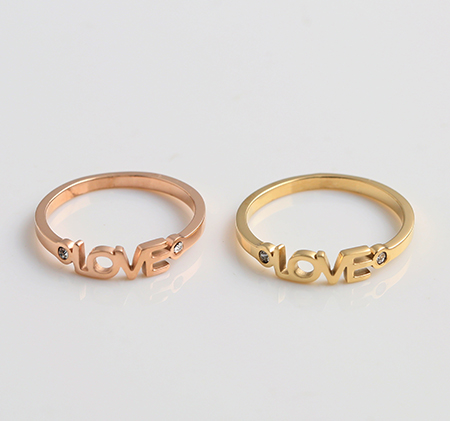 LOVE letter inlaid ring