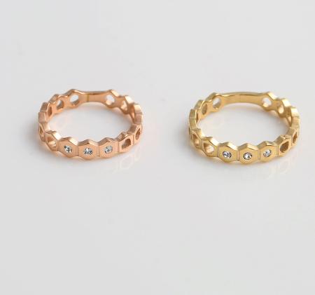 Fashion hexagonal diamond ring