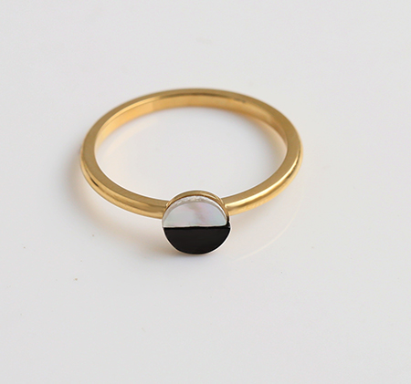 Simple style round stainless steel ring