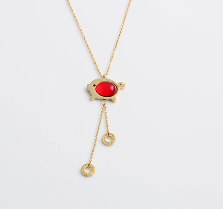 Piglet Ruby Stainless Steel Necklace
