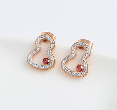 Gourd-shaped fashion hollow stainless steel earrings