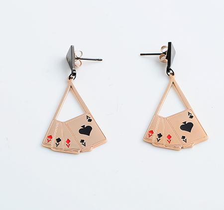 Stainless steel fan shaped playing card earrings