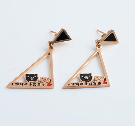 Triangle stainless steel pig earrings