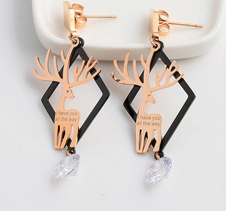 Fawn shape stainless steel single diamond earrings