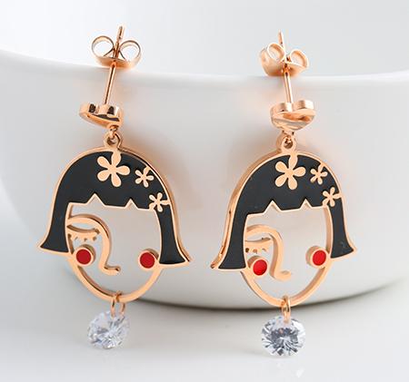 Stainless steel beautiful goddess earrings