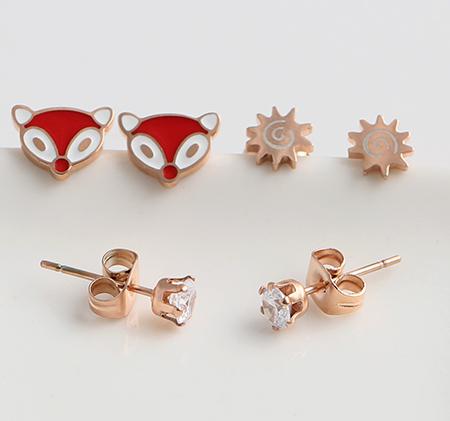 Fashion titanium steel earrings three-piece