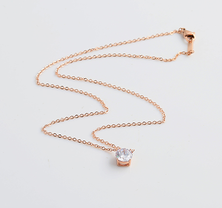 Rose gold single diamond titanium steel necklace