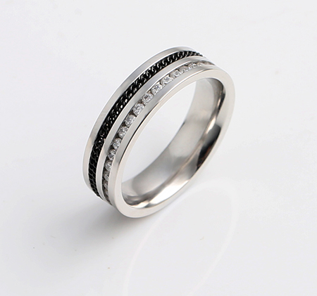 Half-drilled half-chain stainless steel ring