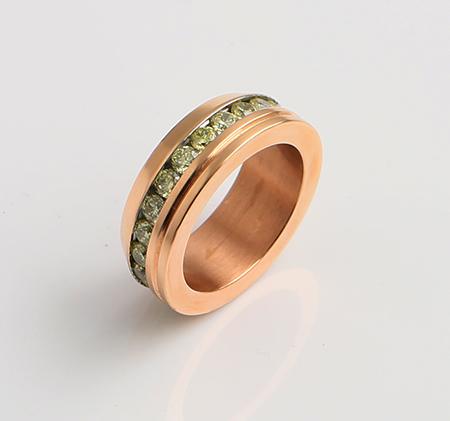 Single beveled titanium steel diamond ring