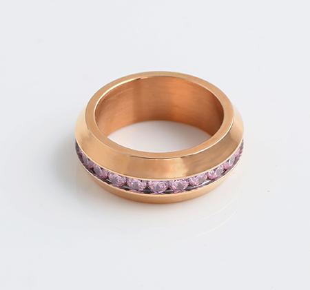 Rose gold powder drill titanium steel ring