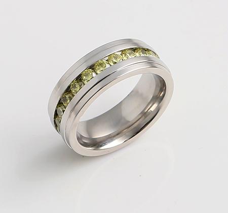 Trend yellow diamond titanium steel ring