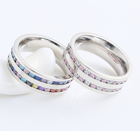 Colorful diamond stainless steel ring