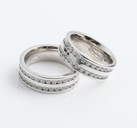 Parallel bars white diamond couple titanium steel ring