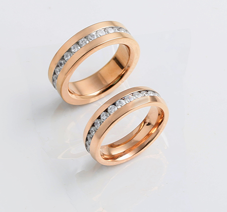 Rose gold titanium steel couple ring