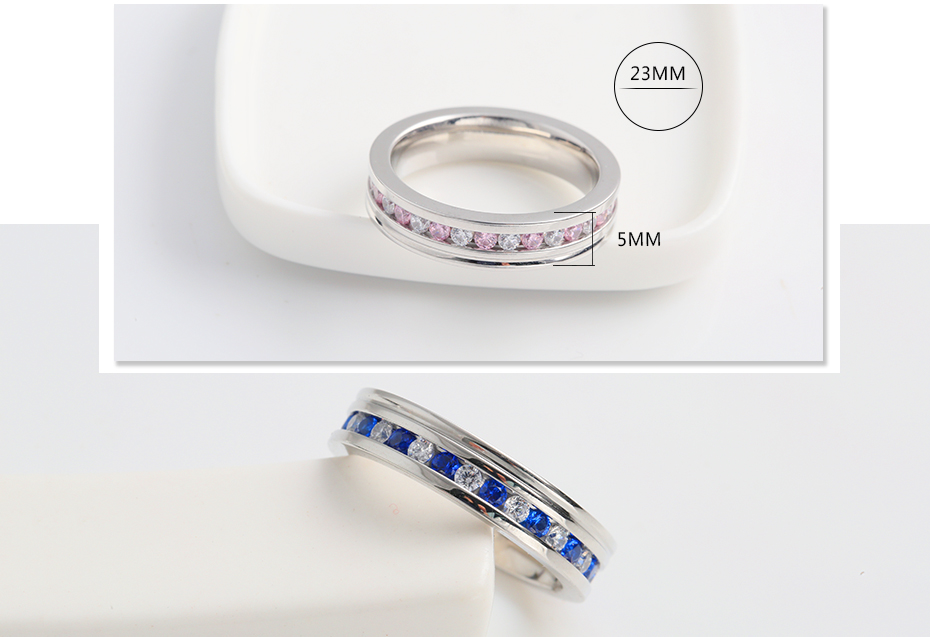 Women's color diamond stainless steel ring