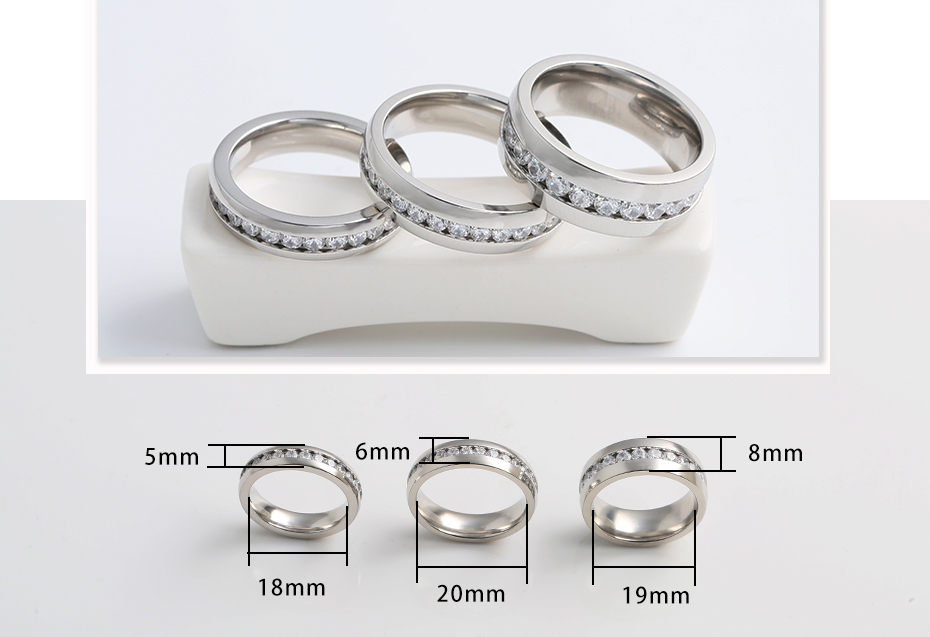 Fashion diamond-studded titanium steel ring