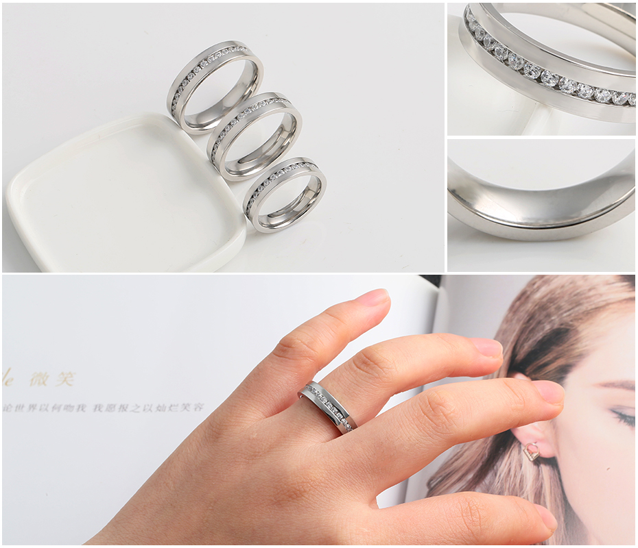 Simple diamond-studded titanium steel ring