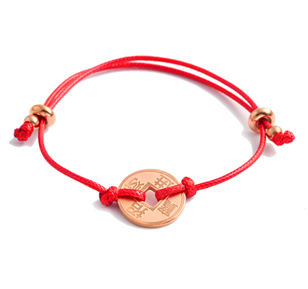 Red rope copper coin commemorative hand rope